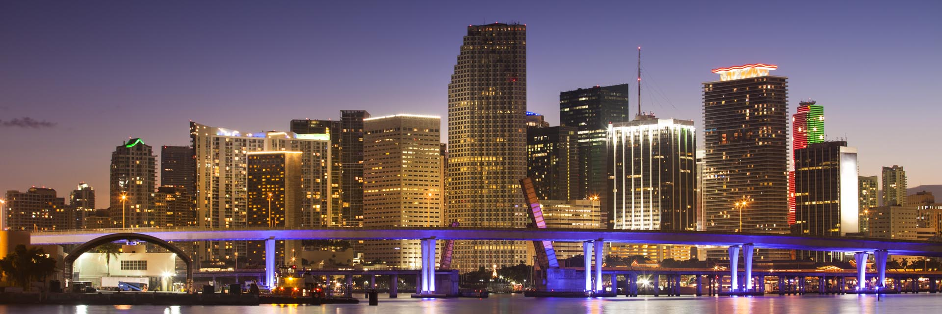 Downtown Miami, Florida At Night